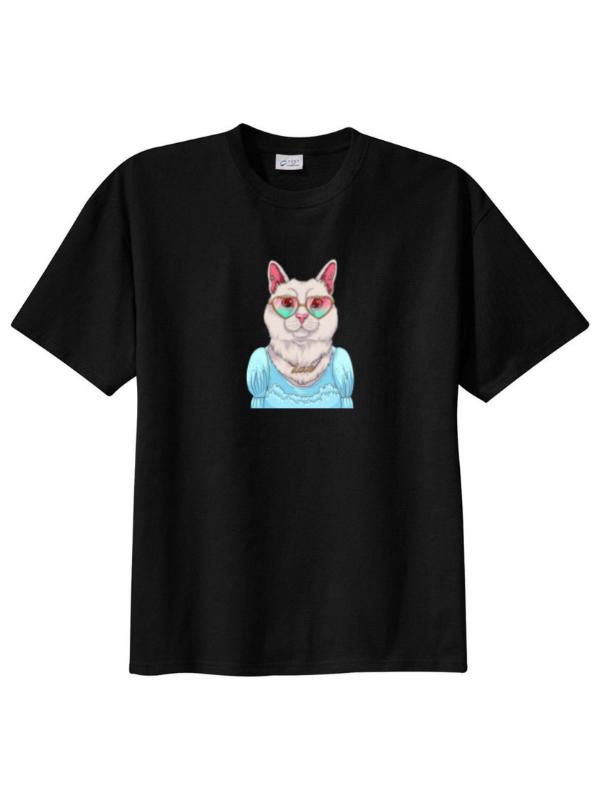 تیشرت زنانه طرح خانم گربه